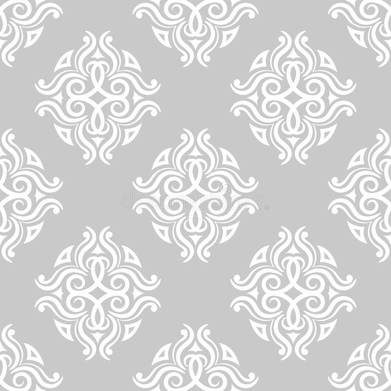 декоративный сбор винограда флористических орнаментов элементов Серые безшовные картины для ткани и обоев бесплатная иллюстрация