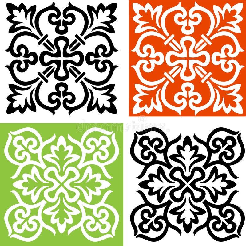 2 декоративных креста черно-белого стоковое изображение