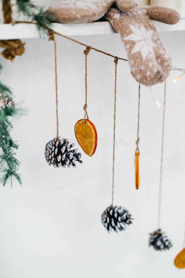 Елевые конусы и сухой апельсин висят на строке в рождестве стоковая фотография