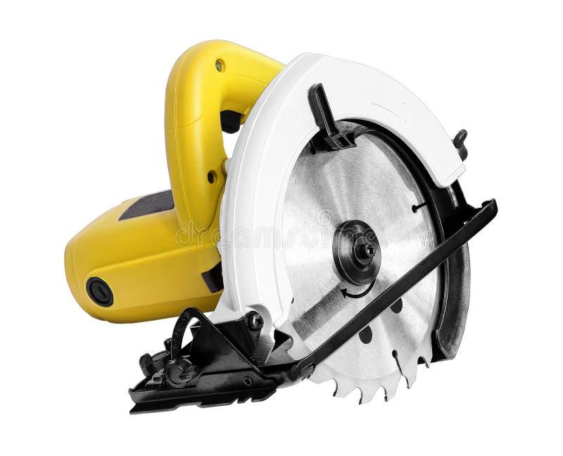 Електричюеские инструменты, круглая пила на белой предпосылке стоковая фотография rf