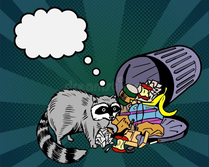 Енот ест от погани и думает около Мусорный ящик похитителя и бездомные как улицы Шуточный думая пузырь шипучка иллюстрация вектора