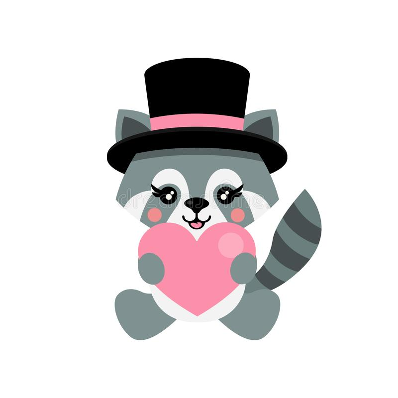 Енот мультфильма милый со шляпой и сердцем сидит бесплатная иллюстрация