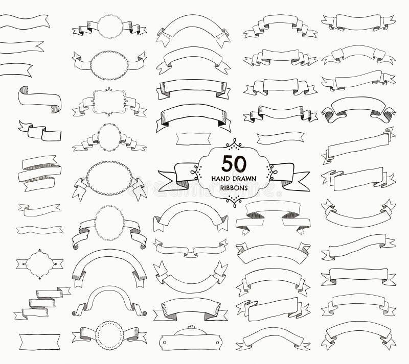 50 лент вектора нарисованных шайкой бандитов, знамена, рамки иллюстрация штока