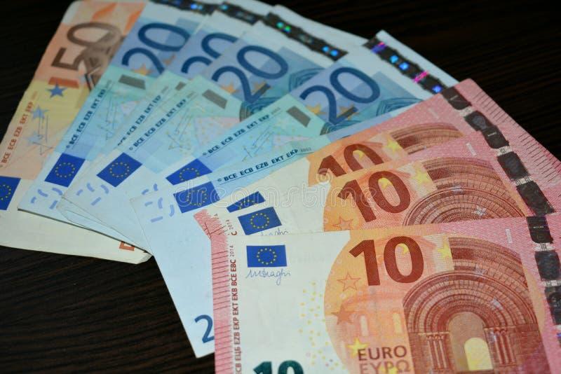 деньги 10 20 евро 50 стоковое изображение rf
