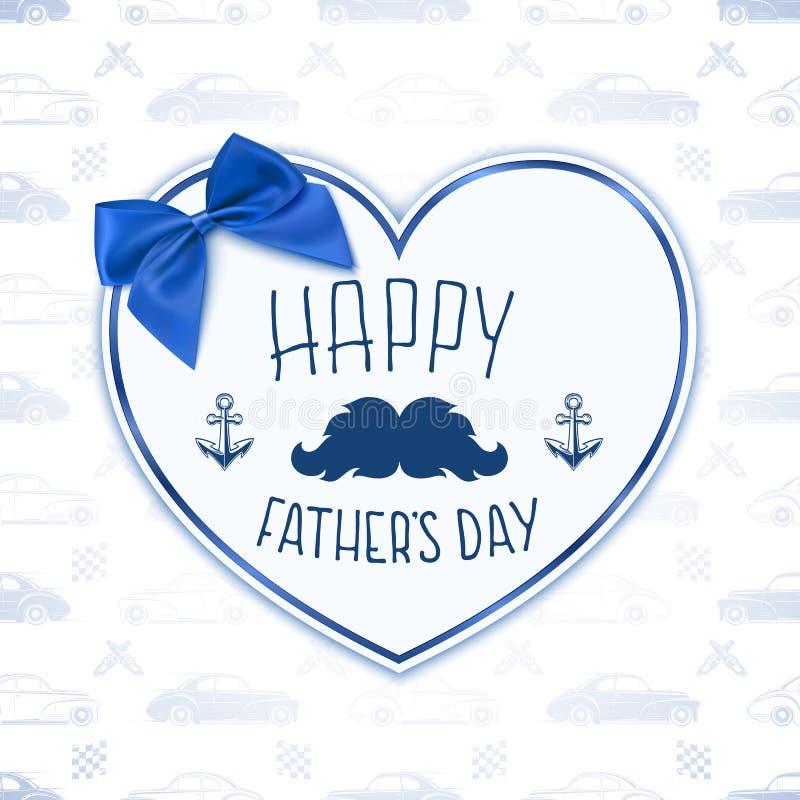 день будет отцом счастливого Предпосылка с бумажным сердцем иллюстрация вектора
