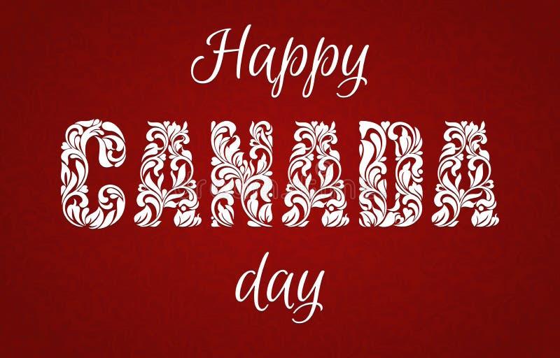 день Канады счастливый Декоративный шрифт сделанный в свирлях и флористических элементах бесплатная иллюстрация