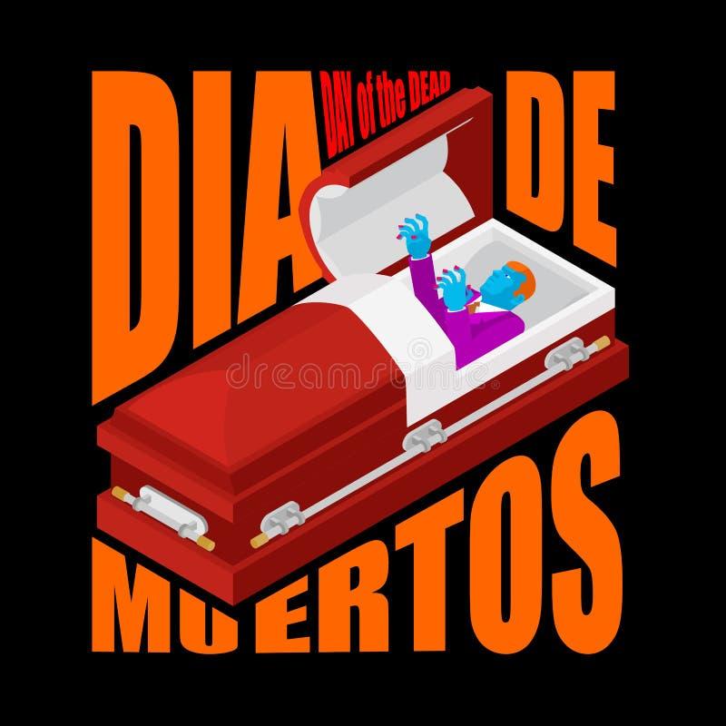 день мертвый гроб открытый уведенное зомби в ларце мексиканско иллюстрация вектора