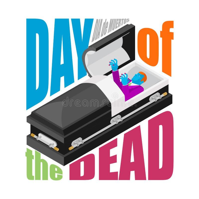 день мертвый гроб открытый уведенное зомби в ларце мексиканско иллюстрация штока
