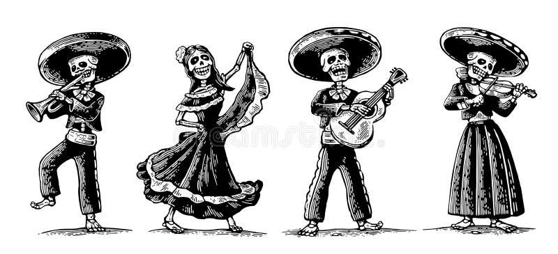 день мертвый Скелет в мексиканских национальных костюмах иллюстрация вектора