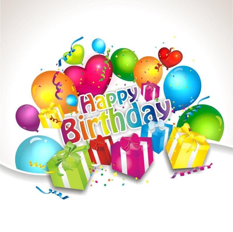 день рождения предпосылки цветастый иллюстрация вектора