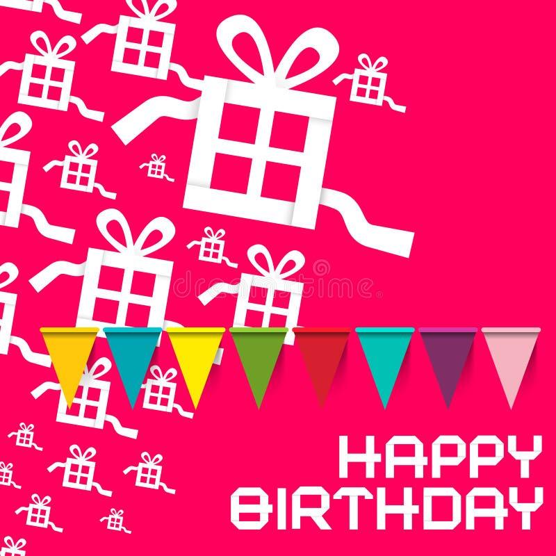день рождения счастливый Карточка пинка дня рождения вектора иллюстрация вектора