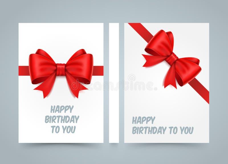 день рождения счастливый к вам Смычок на белой бумаге книга дороги знамени Бумага размера A4, элемент дизайна шаблона, предпосылк бесплатная иллюстрация