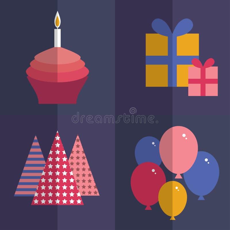 день рождения счастливый плоский комплект стиля Пирожное с a иллюстрация штока