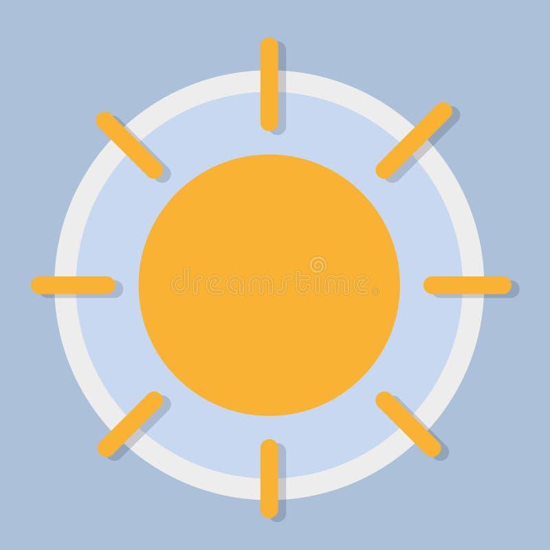день солнечный Значок прогноза погоды иллюстрация вектора