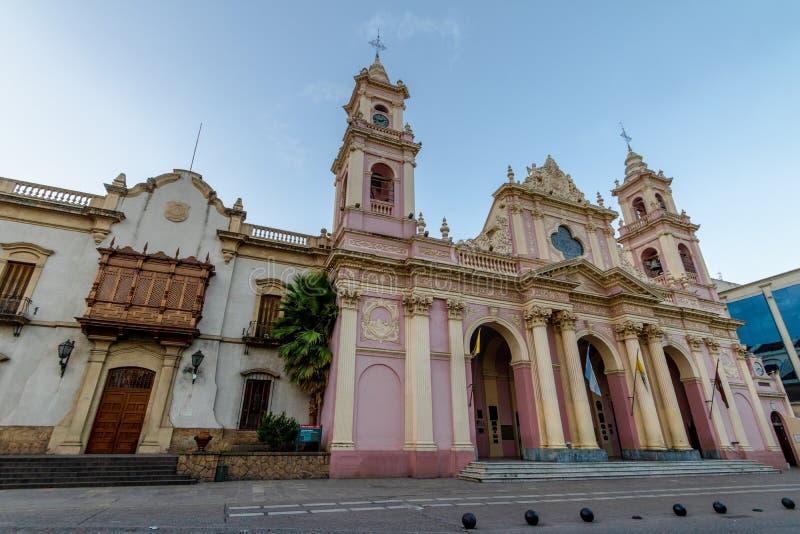 Епархия архиепископа Salta и базилика собора Salta - Salta, Аргентины стоковое изображение rf