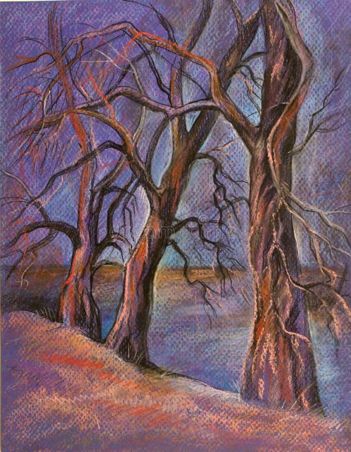 3 дерева на сумраке иллюстрация штока