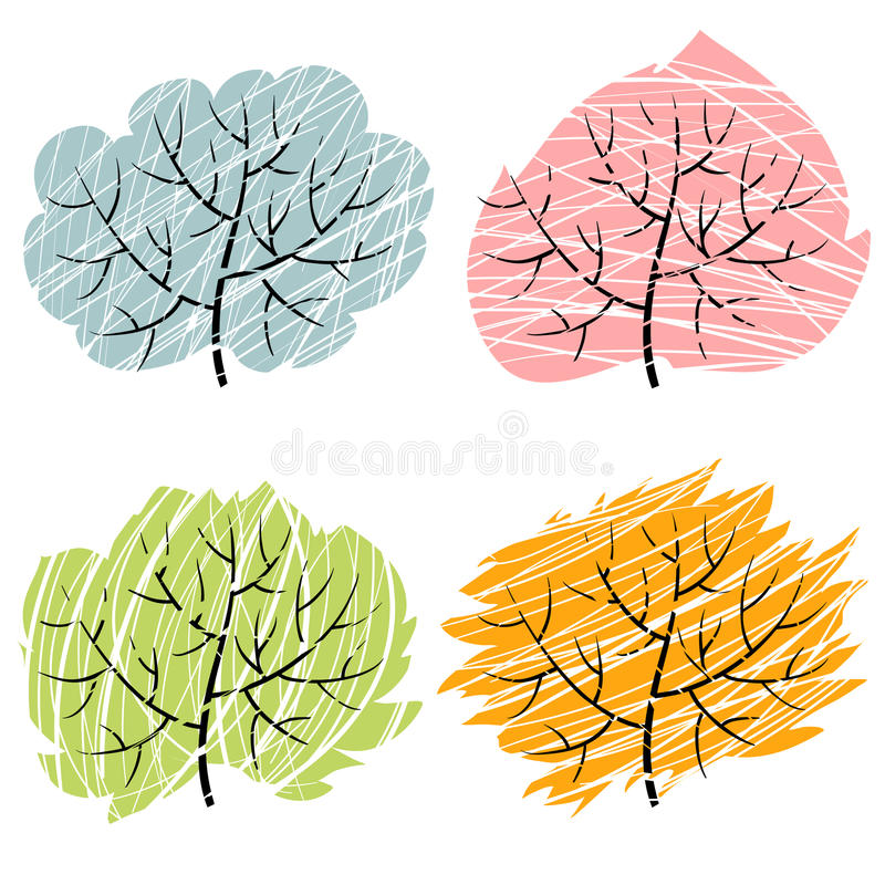 4 дерева сезона, иллюстрация деревьев abctract бесплатная иллюстрация