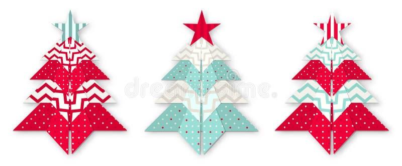 3 дерева origami рождества абстрактных иллюстрация штока