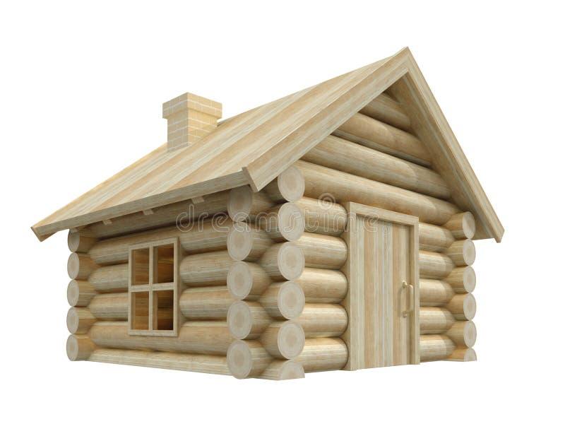 деревянное иллюстрации дома 3d изолированное изображением малое иллюстрация вектора