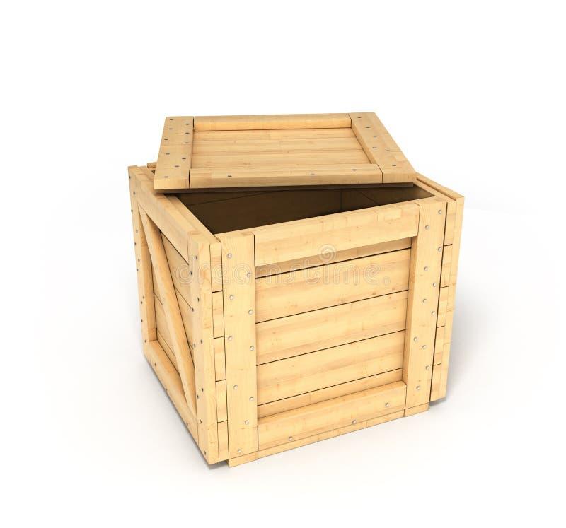 деревянное коробки открытое иллюстрация штока