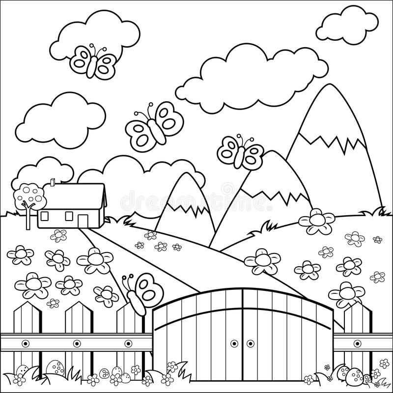 деревянное лужка дома загородки страны малое Страница книжка-раскраски иллюстрация штока