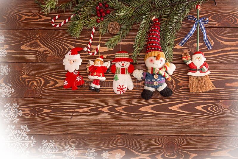 деревянное украшений рождества экологическое Установите для поздравительной открытки праздника стоковые фото