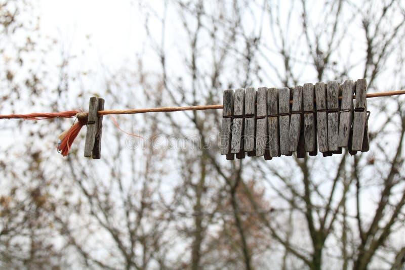 деревянное clothespins старое выдержанное стоковая фотография rf