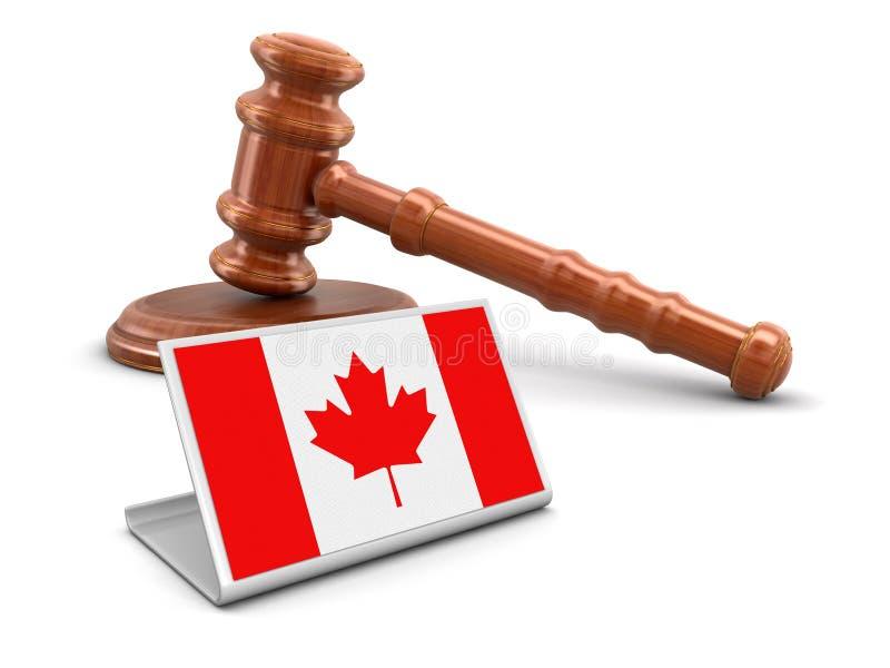 деревянные мушкел 3d и флаг Канады иллюстрация штока