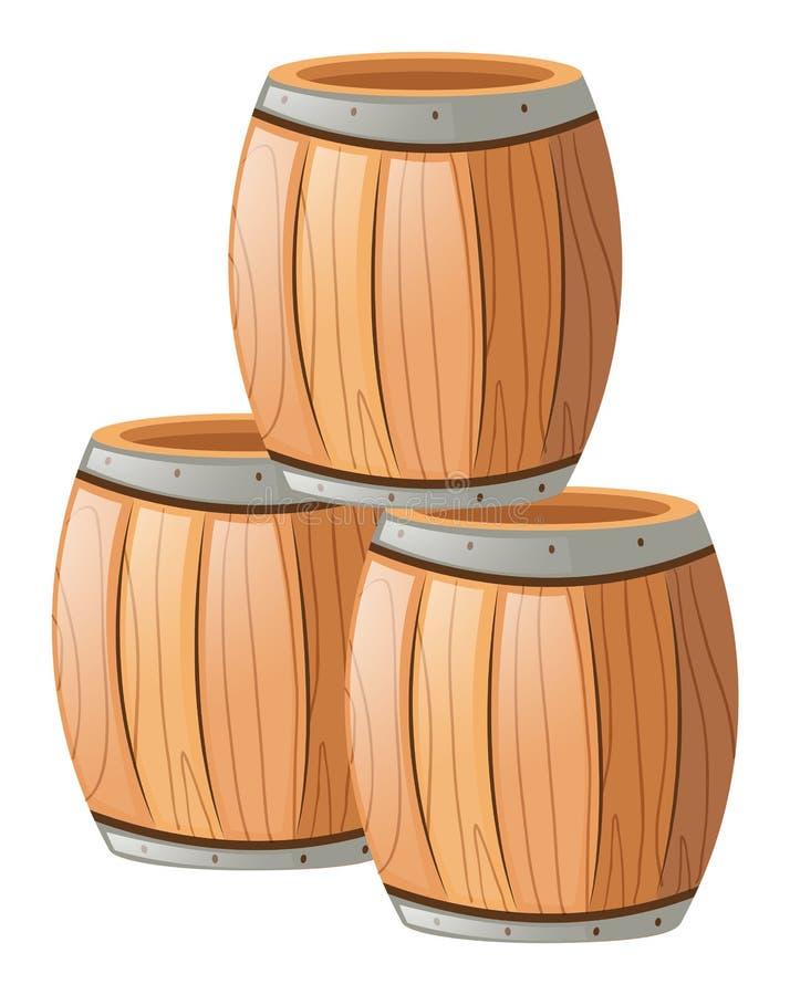 3 деревянных бочонка на белизне иллюстрация вектора