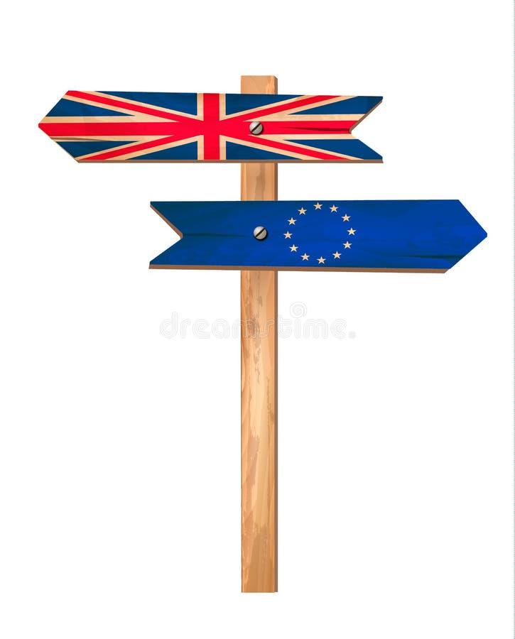 2 деревянных знака - Великобритания и EC Концепция Brexit иллюстрация вектора
