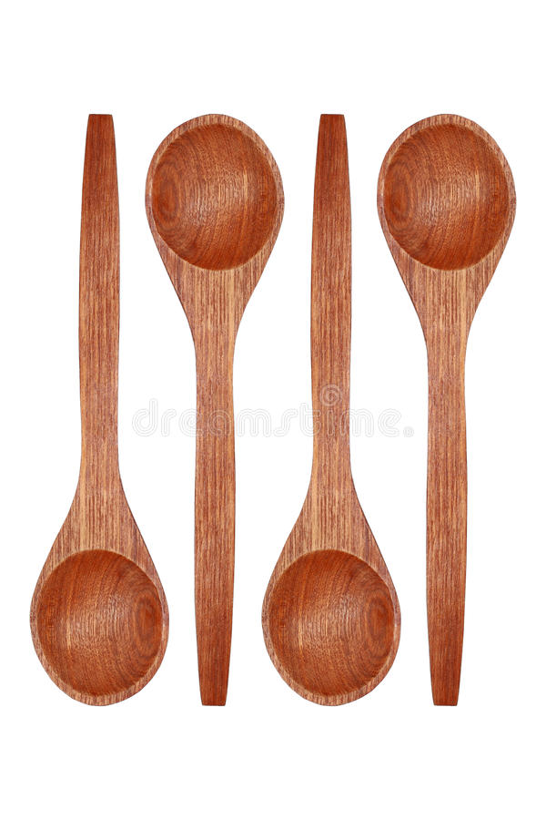 4 деревянных ложки изолированной на белизне стоковые изображения rf
