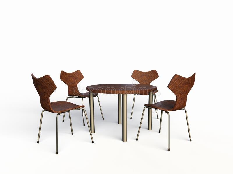 4 деревянных стуль иллюстрация вектора