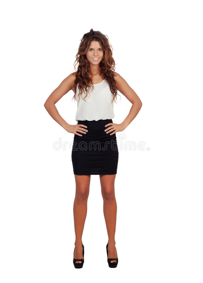 Download Естественная девушка с мини-юбкой и вьющиеся волосы Стоковое Изображение - изображение насчитывающей повелительница, brussels: 33732659