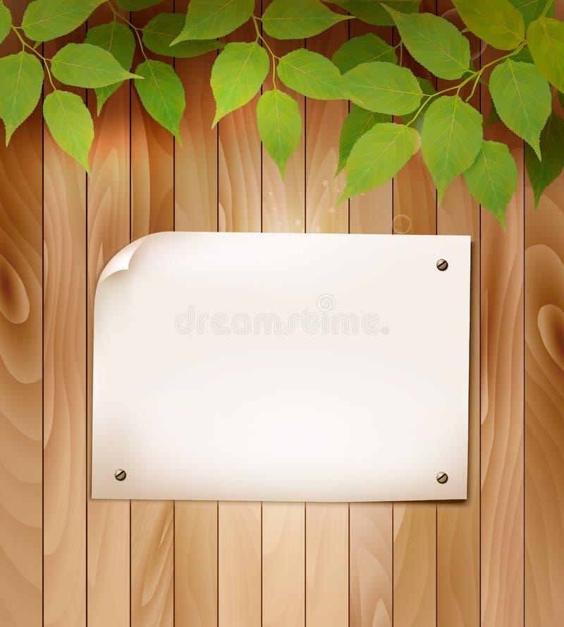Естественная деревянная предпосылка с листьями и пустым куском бумаги бесплатная иллюстрация