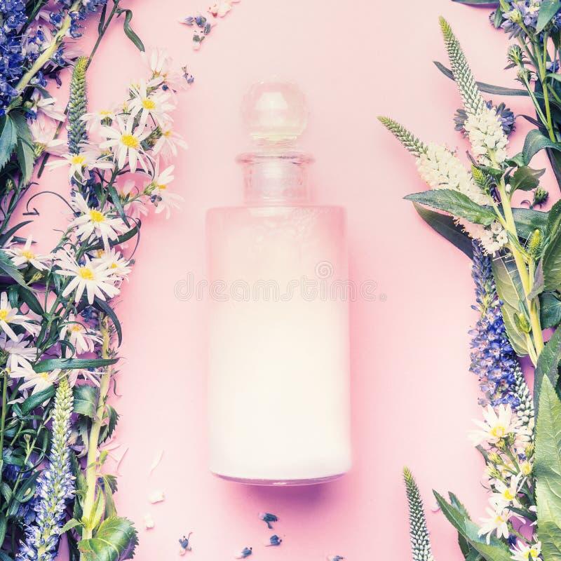 Естественная косметическая бутылка продукта лосьона, шампуня или увлажнителя с травами и цветками на розовой предпосылке, взгляд  стоковые фото