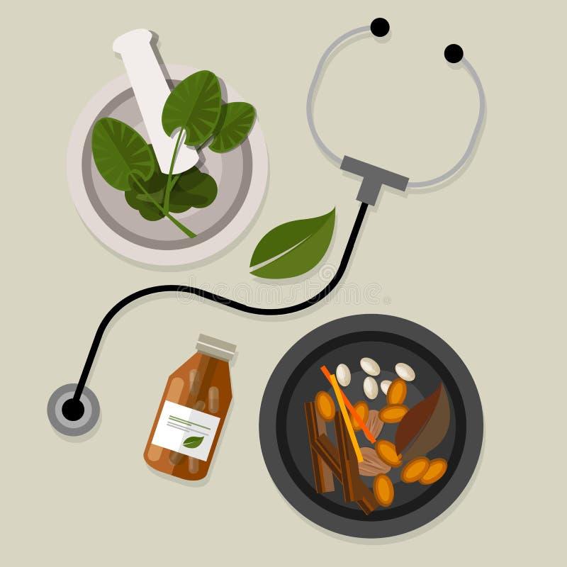 Естественная нетрадиционная медицина традиционная иллюстрация вектора