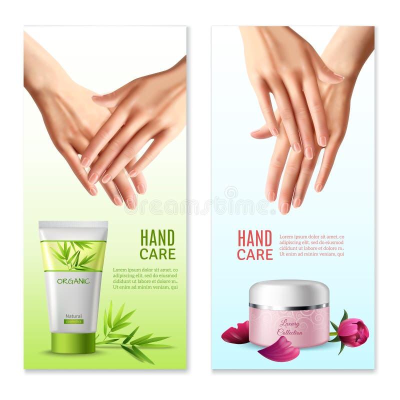 Естественная сливк руки 2 реалистических знамени бесплатная иллюстрация