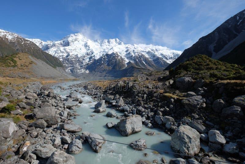 Естественное изображение ландшафта потока реки под горой снега в Новой Зеландии стоковые изображения rf