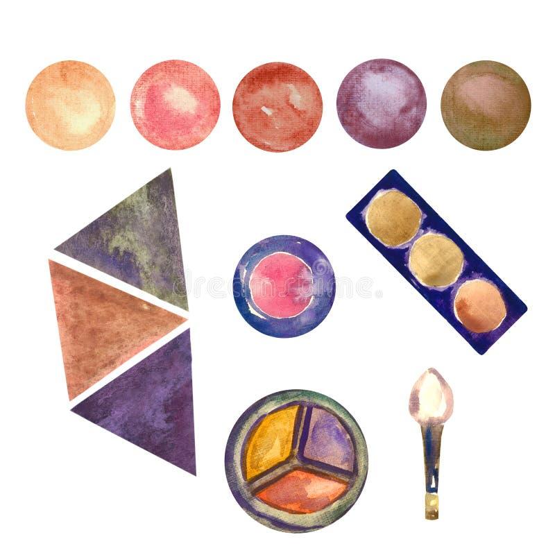 Естественное собрание цветов коробок теней глаза и multi цветовых палитер с щеткой, изолированное на белизне бесплатная иллюстрация