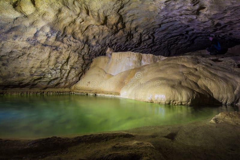 Естественное speleothem, каскады озер и водопады в Nizhneshakuranskaya выдалбливают стоковые фотографии rf