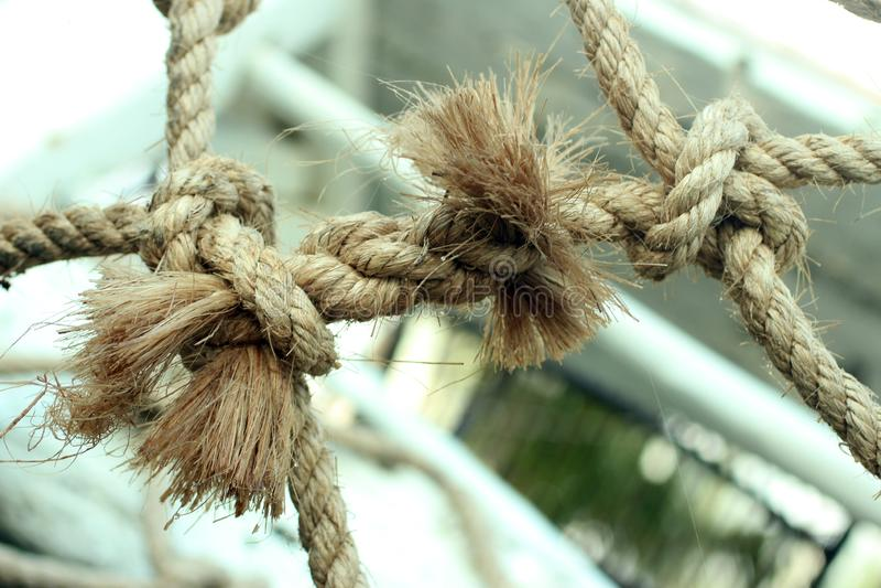 Естественной крупный план связанный веревочкой до одно другое для более сильных скреплений Скрепление в конце веревочки Работа ко стоковая фотография rf