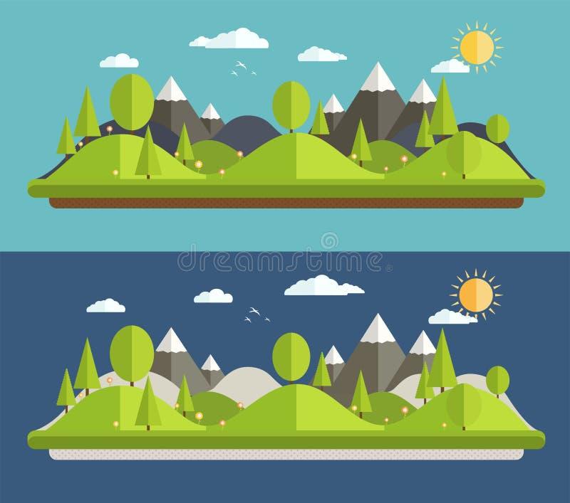 Естественные ландшафты иллюстрация вектора