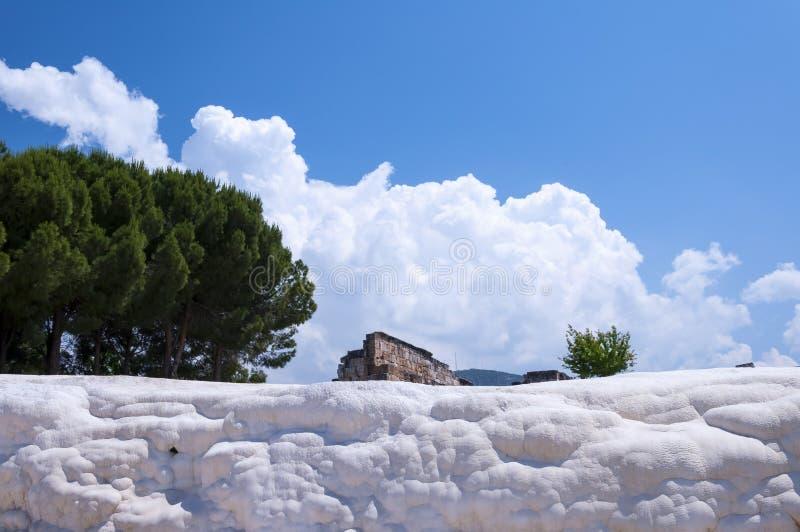Естественные бассейны и террасы травертина на Pamukkale, Pamuk, Turke стоковые фотографии rf