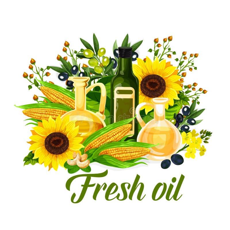Естественные бутылка масла, оливки, мозоль и солнцецвет иллюстрация штока