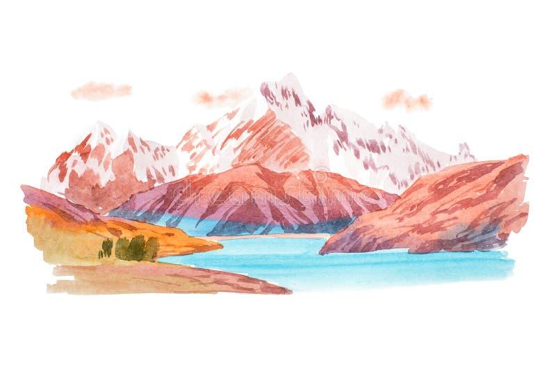 Естественные горы ландшафта и иллюстрация акварели реки бесплатная иллюстрация