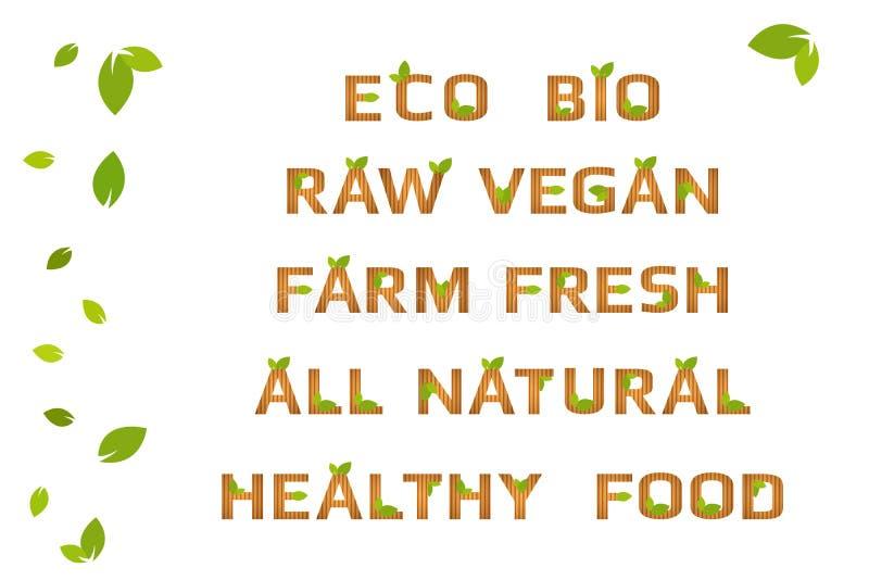 Естественные деревянные письма текстуры с зелеными органическими листьями и коричневыми нашивками иллюстрация штока