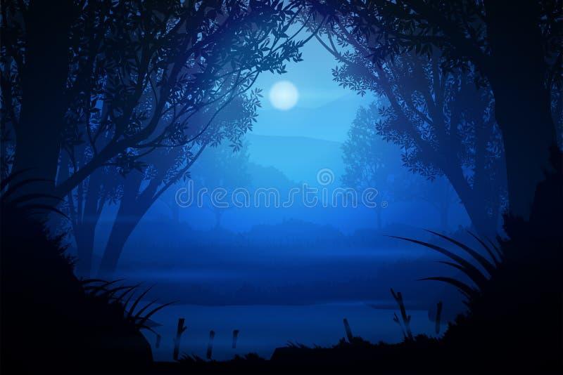 Естественные лесные горы и ручьи Восход и закат Света Луна Ландшафт обои Иллюстрация вектор иллюстрация вектора