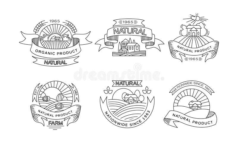 Естественные органические логотипы продукта установили, ретро ярлыки, эмблемы для рынка фермы, натуральные продучты упаковывая, м иллюстрация штока