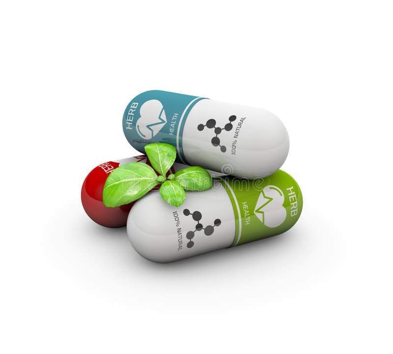 Естественные пилюльки витамина, нетрадиционная медицина иллюстрация 3d иллюстрация штока