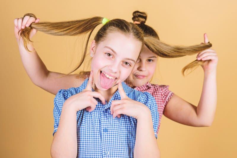 Естественные расширения волос Немногое ребенок держа длинные волосы ее сестры Небольшая девушка усмехаясь со светлыми волосами Ми стоковые изображения rf